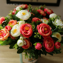 1Bouquet European Artificial Flower Spring Camellia Silk Flower Wedding Flower Arrangement Home Decorative 6 Colours