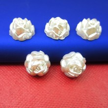 New Arrival 50Pcs/lot 13mm Imitation Pearls Half Round Flatback Rose Design Beads Wedding Cards Embellishments DIY Decoration(China)