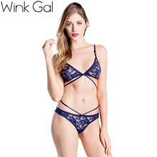 Wink Gal Strap Underwear Lace Lingerie Set Series Bra Thin Bra Navy Blue Sexy Ladies Underwear 1716