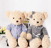 Free shipping 2PCS lovely Couple Teddy Bears Stuffed Plush Toys Valentine Teddy Bear Soft Kids Toy for Children Gifts