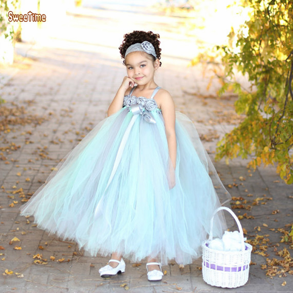2-14Y Gray Mint Green Flower Girls Dress With Lace Flower Headband Chiffon Tulle Girls Wedding Party Birthday Dress Photo Props<br>