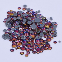 Mixed sizes color Blue Fire nail hotfix rhinestones round glass flatback good quality  300-400 pieces one pack