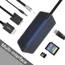 7-in-1 USB Hub Multifunction USB-C Hub with Type-C 4K Video HD/VGA SD Card Reader Adapter USB 3.0 USB C Type C HUB