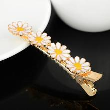 Trendy Ladies Daisy Hairclip Flower Barrette Clamp Hairpin Yellow Daisy Flower Hair Clip Hairpins Hair Accessories for Women