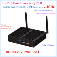 New Fanless Small PC Celeron J1900 Quad Core 2.41GHz Baytrail Android Mini PC Server Win7 8G RAM 128G SSD Commercial Computer
