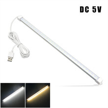1Pcs 35cm DC 5V SMD2835 LED Rigid Strip Light Aluminium shell + PC Cover LED Bar Light for USB Power Supply White/Warm White(China)