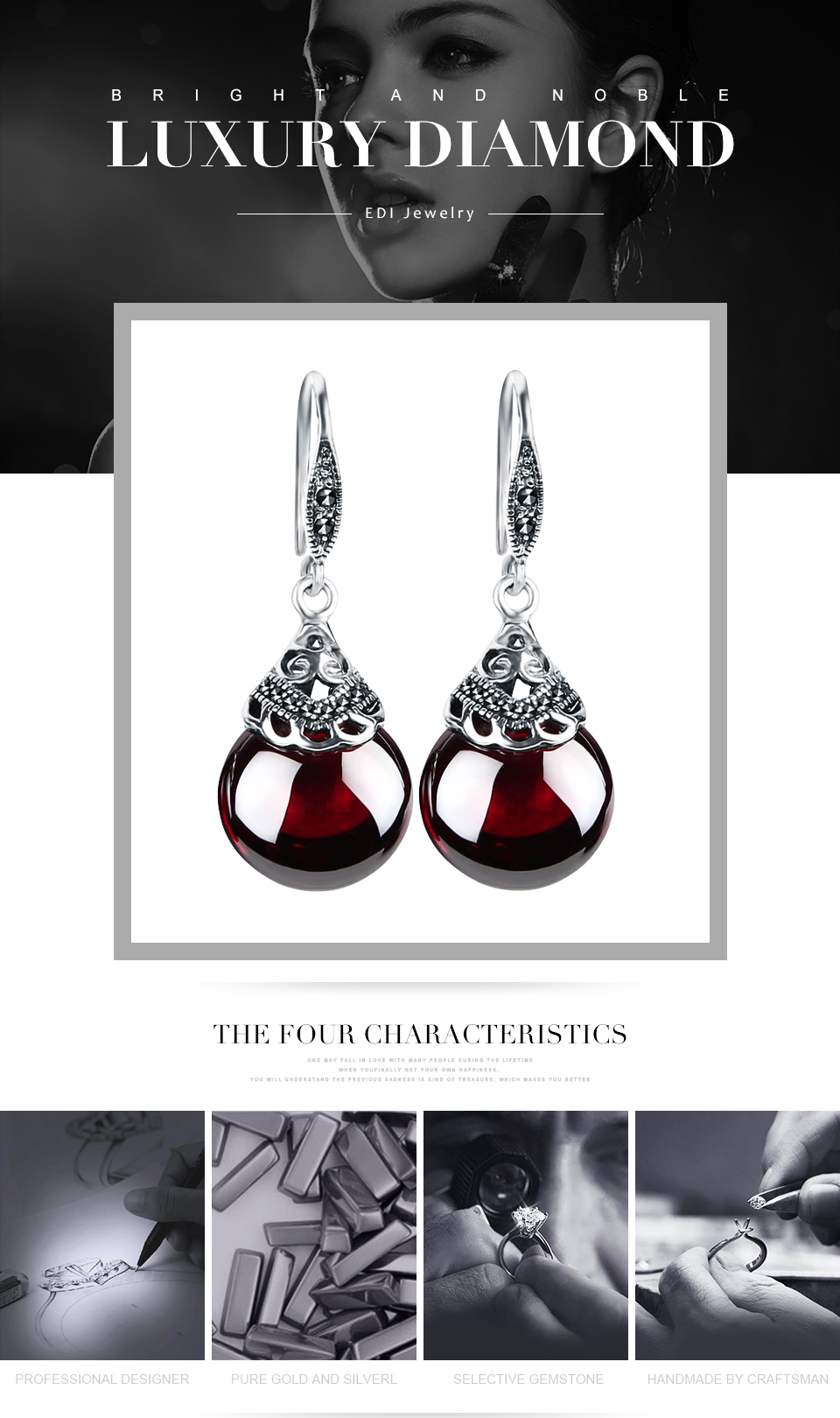 Edi Retro Round Gemstone Garnet Earrings Female 100 925 Sterling Pedal And Craig Anderton S Wah Anti Design Gives Good Wovel Sounds Silver Fine Jewelry Us631