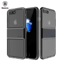 Baseus Travel Transparent Case For iPhone 7 / 7 Plus 2 in 1 Hybrid PC+TPU Protective Clear Slim Back Cover Funda For iPhone 7(China)