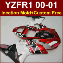Injection body parts for YAMAHA YZF1000 ABS plastic red white fairings YZFR1 2000 2001 YZF R1 00 01 YZF R1 fairing kit+7gifts(China)