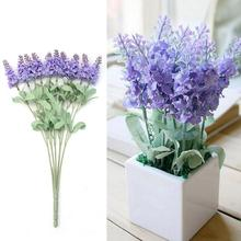 TFBC A bouquet 10 Head Artificial Lavender Silk Flowers Bouquet Home Garden Decoration Light purple