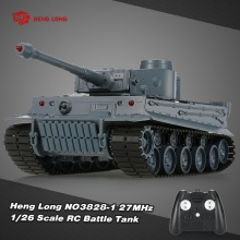 HENG LONG 3828-1 1/26 Scale IR German Tiger Panzer 27MHz RC Battle Tank with Simulated Sound and Light 320Degree Turret Rotating