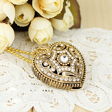 Necklace Gift Jewelry USB Flash Drive 32GB 64GB Gold Heart Pen Drive 128GB Usb 2TB Memory Stick Card Disk Key Pendrive 2TB 2.0(China)