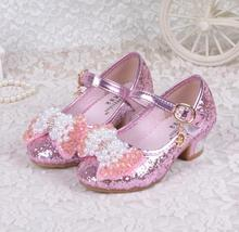 2016 5-6 Years little girls high heels children princess flower fashion pumps kids pink school wedding dance shoes enfant