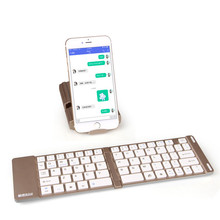 Wireless Bluetooth Keyboard Mini Foldable Keyboard Aluminum Keyboard With Stand Hand-free For Iphone Ipad Android Tablet(China)