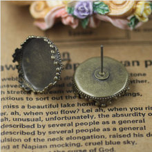 10 pcs 15mm Antique Bronze/Silver Vintage Copper Filigree Round Earwires Earrings base findings with Retro Edge Pad(China)