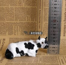 simulation cow model polyethylene& fur prone pose 12x5x6cm milk cow toy handicraft,prop,home Decoration xmas gift b3541