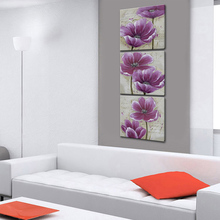 3 Pcs/Set Artwork Canvas Still Life Paintings on Canvas Purple Flowers Modular Handmade Wall Pictures For Living Room Unframed