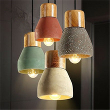 Wooden Modern Pendant Lights Vintage American Country Cement Shade Lighting Fixtures Bar Hotel Antique Mini Pendant Ceiling Lamp(China)