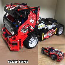 Free Ship  3360 608pcs Race Truck Car 2 In 1 Transformable Model Building Block Sets DIY Toys Compatible With   42041