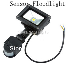 Free shipping  Black Color 10W led park light PIR Passive Infrared Motion Sensor Flood Light AC 110-220V 900 Lumen waterproof