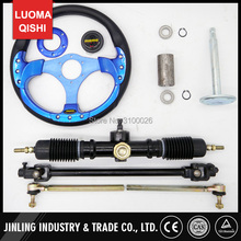 320mm Steering wheel 520mm Gear Pinion 490mm U Joints Tie Rod Assy Fit For DIY China Go Golf Kart Buggy Karting UTV Bike Parts(China)