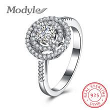 Modyle 2017 New Solid 925 Sterling Silver Ring Gift Round Zircon Accessorise Fashion Jewelry Rings For Women(China)