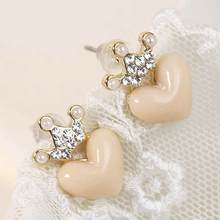 KUNIU  Newest Fashion Women Girl Ladys Charming Sweety lovely crown Popular peach heart earrings   Hot Sale