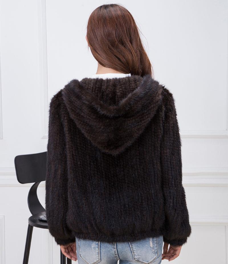 knit mink fur coat brown back