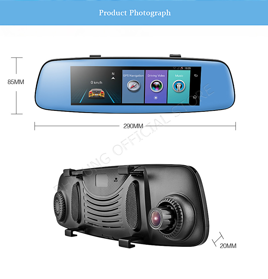 "Phisung E06 4G Car DVR 7.84"" Touch ADAS Remote Monitor Rear view mirror with DVR and camera Android Dual lens 1080P WIFI dashcam 17"