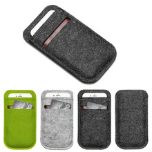 30pcs/lot Universal Mobile Phone Bag Case Cover Wool Felt Wallet bag For 5.5 inch Cell Phone case with one credit card slot
