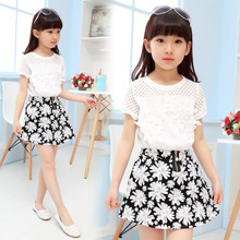New arrive Girls Clothing Sets 2017 Summer White Lace Short Sleeves T-shirt + Floral Skirts Baby Girls Clothes 3-12 Years Old