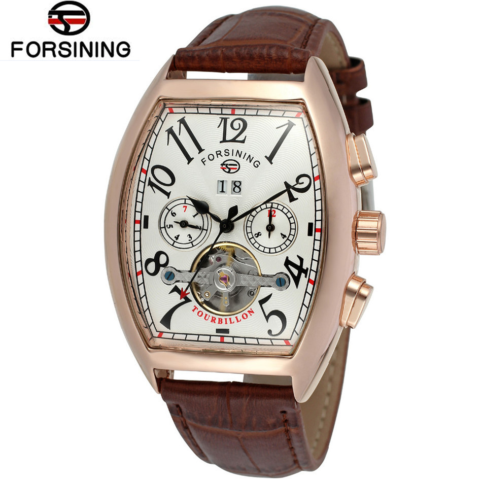 Forsining Casual Relogio Masculino Mens Tonneau Day/Week/24Hours Tourbillion PU Leather Watches Wristwatch Gift Box Free Ship<br>