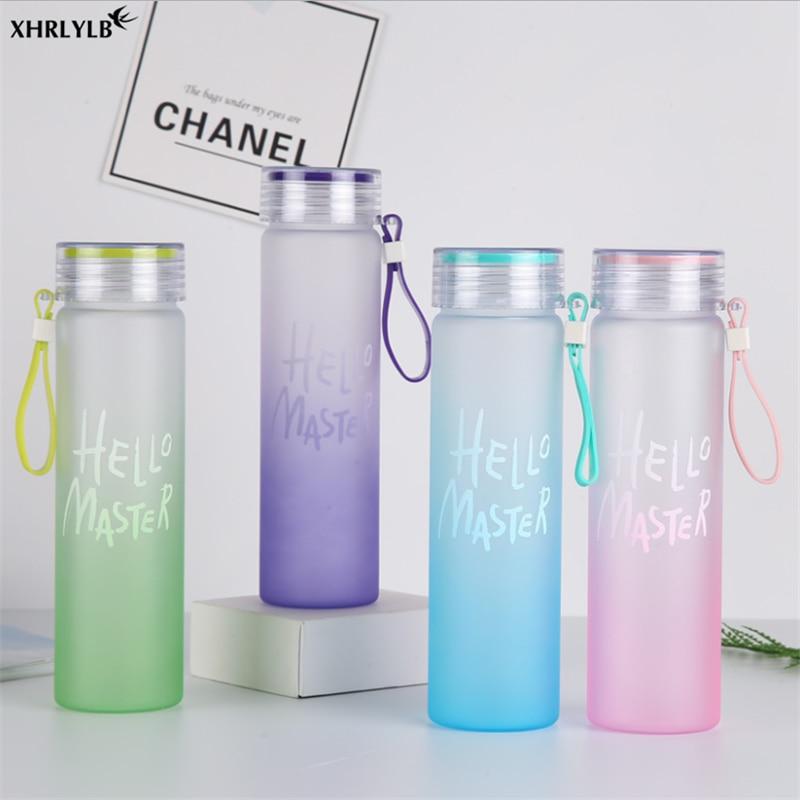 Gradient Color Matte Glass Water Bottle Outdoor Sport Student Drink Cup US