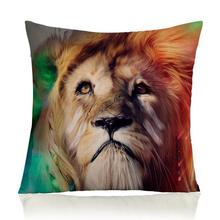 Creative Animal World Lion Leopard Tiger Pattern Decorative Soft Short Plush Throw Pillow Home Chair Seat Cushion