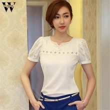 Trendy Style Puff Sleeve Lace Blouse with Belt Women Sexy V Neck Woman Shirt Elegant Plaid Tops Formal Clothing Drop Shipping(China)
