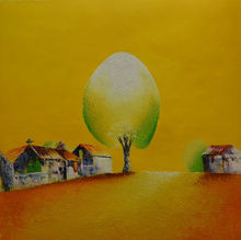 100%HandPainted Modern Vietnam Landscape Canvas Painting Yellow Color Based A Big Tree in A Village Wall Picture for Living Room