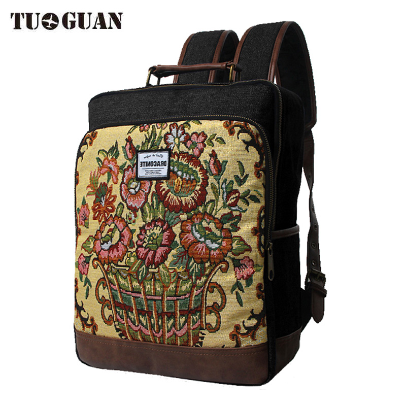 Fashion Chinese Famous Brand Men/Women Vintage Printing Backpack School Bag Embroidery Laptop Back Pack Travel Bagpack Denim<br>