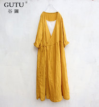 [GUTU] Solid Color Loose Dress 2017 Korean Autumn Fashion Yellow  Cotton And Linen Three Quarter Sleeve Casual Dress Woman FA074