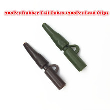200Sets*Carp Fishing Soft  Rubbers Tail Tube Rubber Tubes + Carp fishing hook safety lead clips set