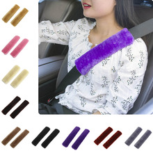 1pc Car Seat Belt Shoulder Pad Comfortable Driving Seat Belt Vehicle Soft Plush Auto Seatbelt Strap Harness Cover CSL2017(China)