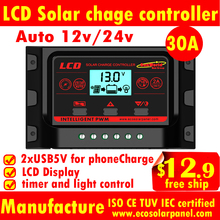 10A 20A 30A LCD solar charge controllers 12V/24V auto for 12v battery,solar panels regulators,2*USB for Mobile charge,MPPTSUN,CE(China)