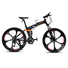 "Cyrusher FR100 Mans Folding Mountain Bike 24 Speed 26*17"" Full Suspension Aluminum Alloy Frame Double Disc Brake Foldable MTB(China)"