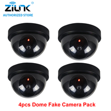 Fake Dome Camera Indoor Security CCTV Surveillance Dummy Camera Flashing Red LED AA Battery Easy Installation 4 pcs Black(China)