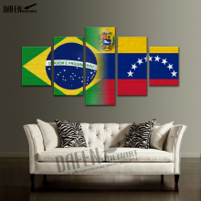 HD Canvas Prints 5 panel American Brazil Venezu Flag Paintings Framed Artwork Home Decor Wall Art Picture for  Bedroom