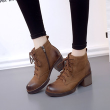 Women Genuine Leather Ankle Boots Botas Lace Up Short Rubber Boots With Heel Balck Brown Martin Boots Bottes Femmes XK102506