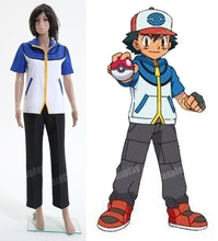 Pokemon Ash Ketchum Cosplay Costume Woman Girls lady Adult cotton Halloween Uniforms Clothing For Pokemon Go Fans
