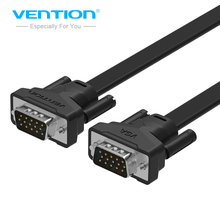Vention VGA to VGA Flat Cable Male to Male Black Braided Shielding High Premium HDTV VGA Cable