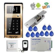 MILEVIEW Wireless Wifi Video Door Phone Intercom Metal Doorbell Code Keypad for Phone Remote Electric Strike Lock Free Shippin