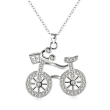 Cute Design Silver Bicycle Pendant Necklace with Zircon Woman Fashion Jewelry Christmas Gift Top Quality collier femme