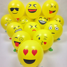 "100PCs 12"" Emoji Expression Yellow Latex Balloons Cartoon Inflatable Balls Wedding Balloons Birthday Party Decoration 30cm"